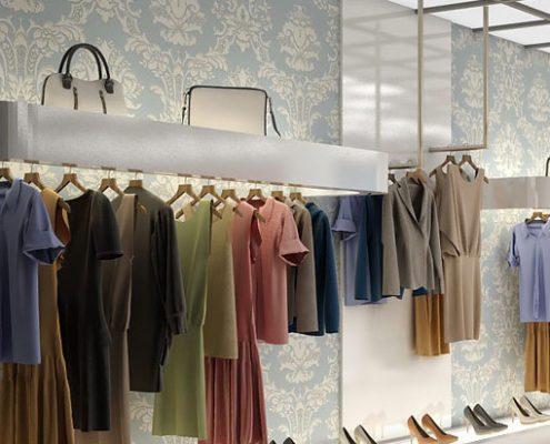 طراحی دکوراسیون داخلی فروشگاه لباس